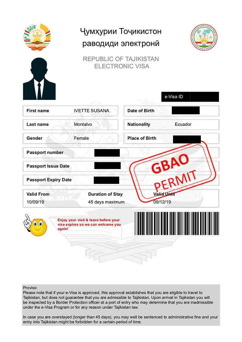 Visa Tajikistan ejemplo